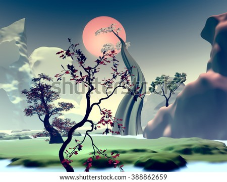 3D Illustration and landscape with the concept of fantasy with big trees and mountains in the background - stock photo