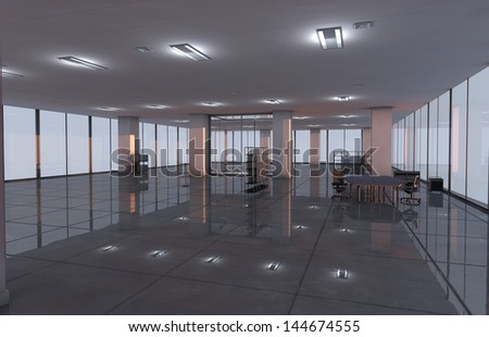 3D Illustration and playback from downtown Office Room