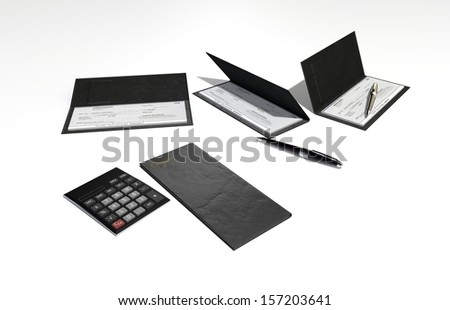 3D Illustration and rendering of isolated Checkbook and pen - stock photo