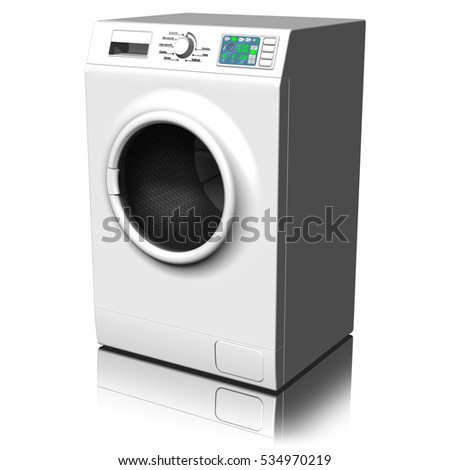 3D illustration.Appliances. Washing machine isolated on white background.