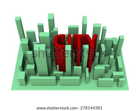 3d illustration architecture city