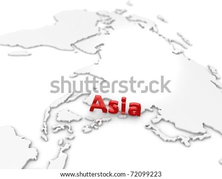 3d illustration, Asia region map. on white. - stock photo