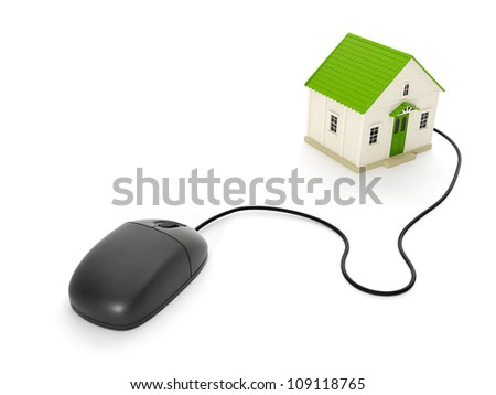 3d illustration: Back home. The toy house and a computer mouse - stock photo