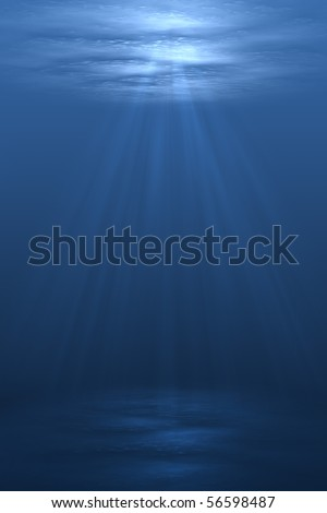 3D illustration background graphic of a blue underwater scene below the ocean sea. - stock photo