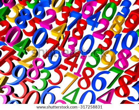 3D Illustration - Background of colorful numbers isolated on a white background