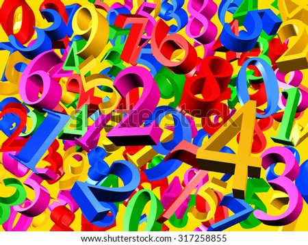 3D Illustration - Background of colorful numbers isolated on a yellow background