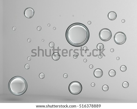 3D illustration, background of glass balls.