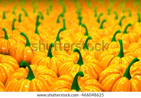 3d illustration background of ripe yellow pumpkins