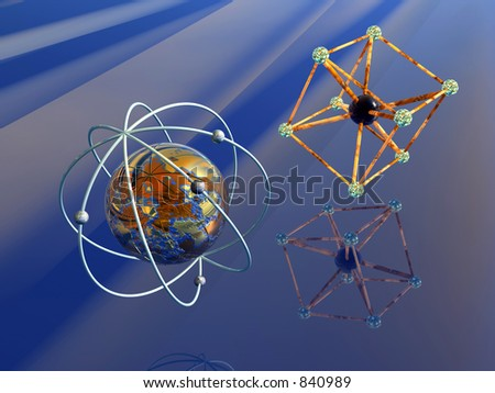 3D Illustration Background Wallpaper Of The Micro Cosmos A Molecule Iron Atom