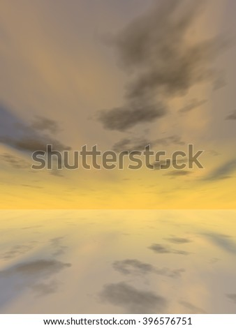 3D illustration beautiful seascape with water and reflection of the sky with clouds at sunset background for nature, romantic, dramatic, light, evening, morning, peace, atmosphere, weather or sunshine