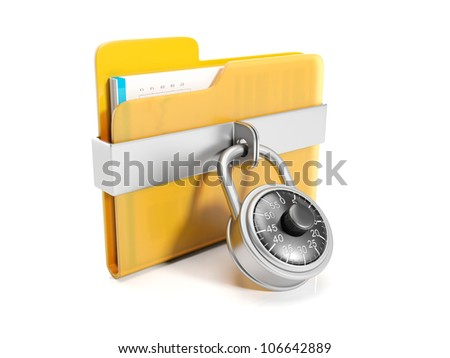 3d illustration: Big yellow folder with a combination lock mounted - stock photo