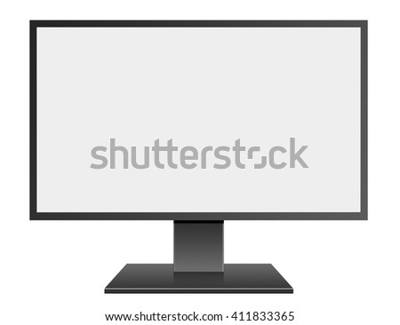 3D illustration Black LED Computer Mornitor with blank screen on white background - stock photo