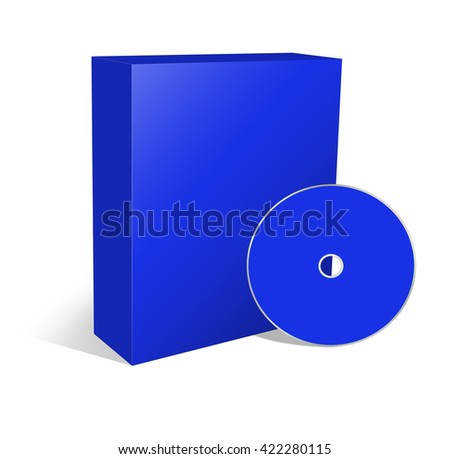 3d illustration blank box and cd or dvd disk - stock photo