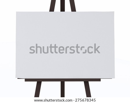 3d illustration. Blank Canvas on an Easel. Isolated white background