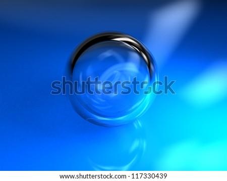 3d illustration blue ball glass - stock photo