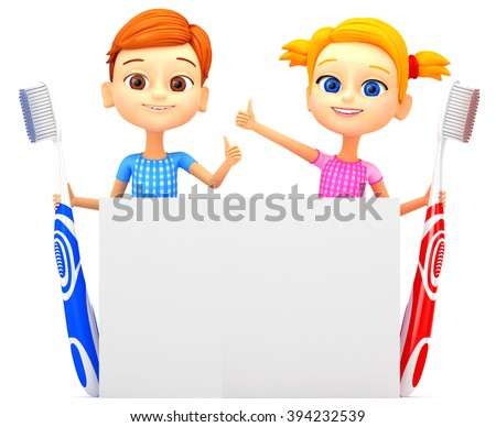 3D illustration. Boy and girl with toothbrushes on a white background. - stock photo