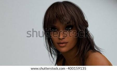 3d illustration brunette girl portrait - stock photo