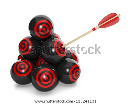 3d Illustration: Business concept. Group of balls with a target and arrow in one, choose the right solution - stock photo