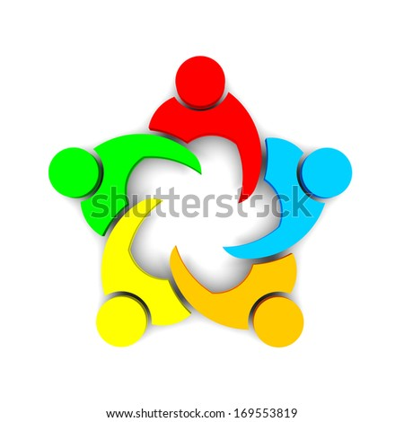 3D Illustration Business Icon Meeting 5 - stock photo