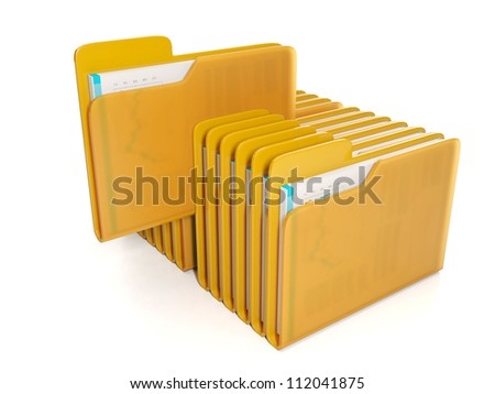 3d Illustration: Business technology. Group folder with the document to find the right folder