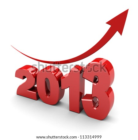 3d illustration, calendar symbol- 2013 with red arrow up - stock photo