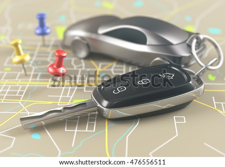 3D illustration. Car key on the map with local points of travel.