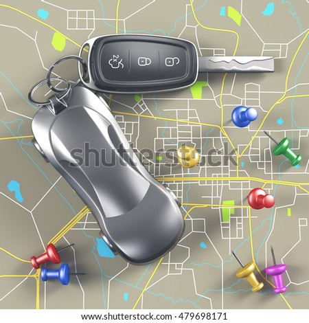 3D illustration. Car key on the map with local points of travel. Clipping path included.