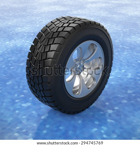 3d illustration. Car tire on ice. Winter tires - stock photo