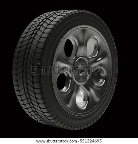 3d illustration Car wheels on a black background