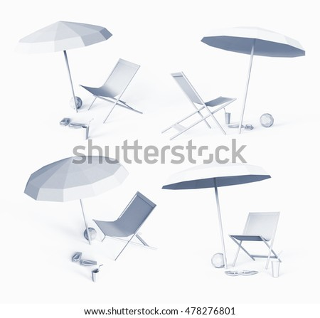 3D illustration, chaise lounge on a white background