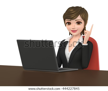 3D illustration character - The business woman who talks while watching a note PC.