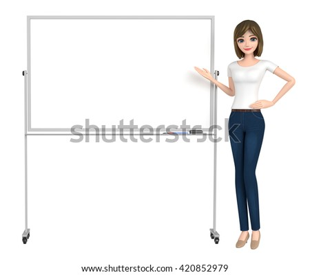 3D illustration character - The woman who wore a T-shirt points to the white board.