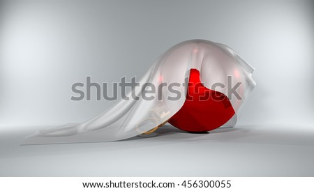 3d illustration Christmas Ball covered by a silky cloth - stock photo
