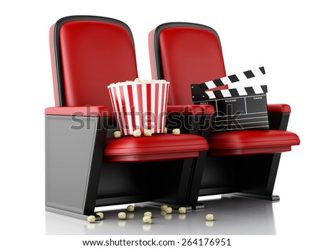 3d illustration. Cinema clapper board and popcorn on theater seat. Cinema concept. - stock photo