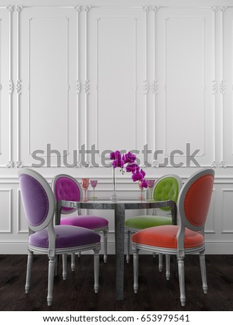 Classic Chairs Of Different Colors Near A Metal Table