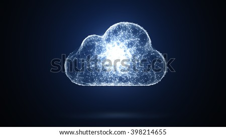 3D illustration: cloud storage, network conception from a plurality of hosts and communications - stock photo