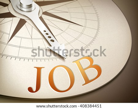 3d illustration compass needle pointing the word job - stock photo