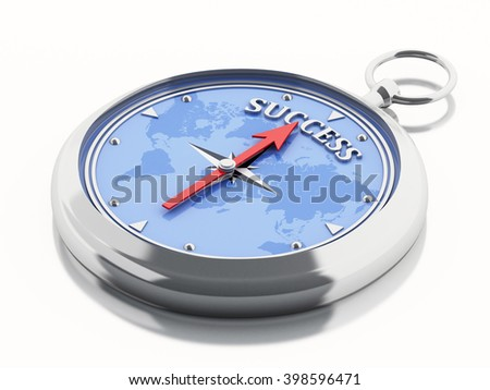 3D Illustration. Compass pointing word success. Business concept. Isolated white background.  - stock photo