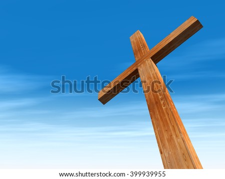 3D illustration concept conceptual wood cross or religion symbol shape over a blue sky with clouds background for God, Christ, Christianity, religious, faith, holy, spiritual, Jesus belief resurection