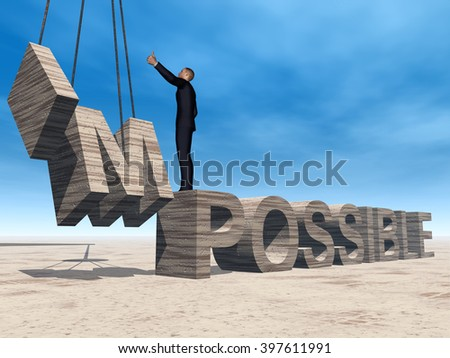 3D illustration concept 3D business man standing over abstract stone impossible text on sky background for success, career, work, job, achievement, development, growth, progress, vision, possible - stock photo