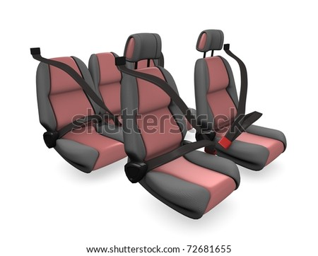 3d illustration, concept image Family car seat, isolated on white background. - stock photo