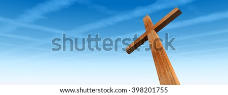 3D illustration concept wood cross or religion symbol shape over a blue sky with clouds background banner for God, Christ, Christianity, religious, faith, holy, spiritual, Jesus, belief or resurection