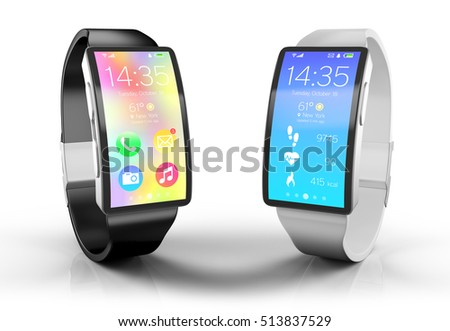 3d illustration. Creative business, and mobile devices: smart watches set with a bright display isolated on white with reflection effect