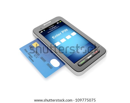 3d illustration: Credit card and mobile phone - stock photo