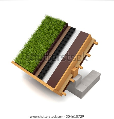 3d illustration. Cut the roof construction green roof on a white background