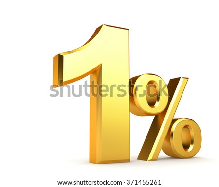 3d illustration. 3d golden percentage on a white background.