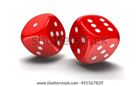 3D Illustration. 3d image of game dices. Image with clipping path