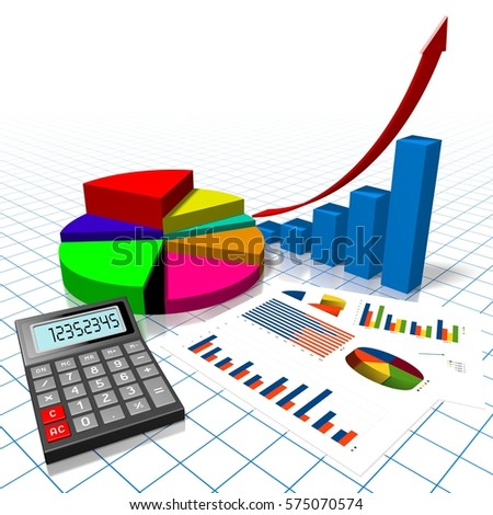 3 d illustration 3 d rendering business pie stock illustration 3d illustration 3d rendering business pie and bar charts calculator ccuart Image collections