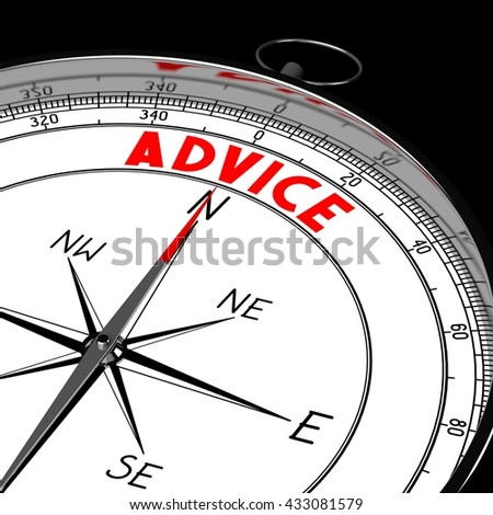 3D illustration/ 3d rendering - compass, advice concept.