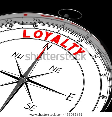 3D illustration/ 3d rendering - compass, loyalty concept.